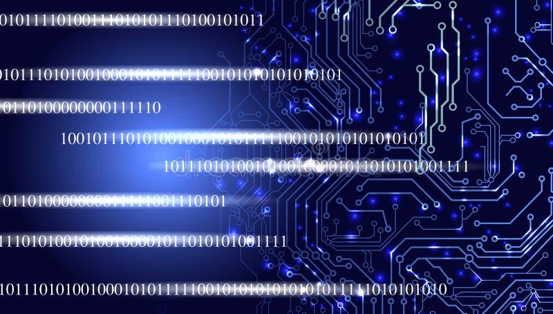 Έμβλημα τεχνολογίας δυαδικό υπόβαθρο τεχνολογίας ελεύθερη απεικόνιση δικαιώματος