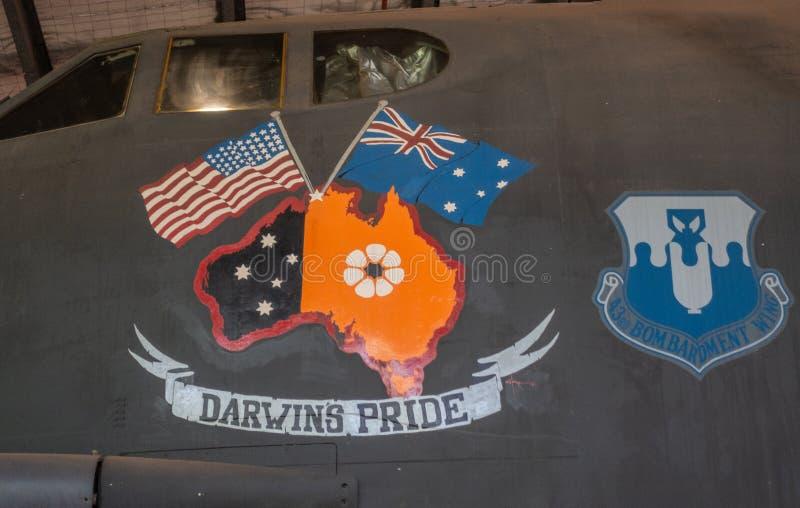 Έμβλημα της υπερηφάνειας Darwins στο αυστραλιανό κέντρο κληρονομιάς αεροπορίας, Δαρβίνος στοκ φωτογραφία με δικαίωμα ελεύθερης χρήσης