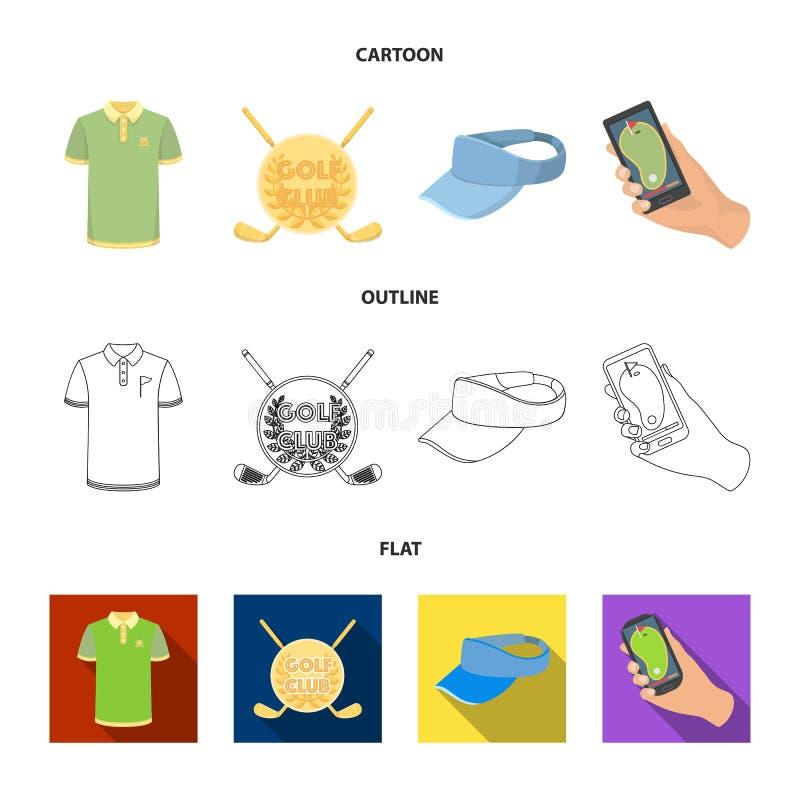 Έμβλημα του γκολφ κλαμπ, ΚΑΠ με ένα γείσο, πουκάμισο παικτών γκολφ, τηλέφωνο με έναν πλοηγό Καθορισμένα εικονίδια συλλογής γκολφ  ελεύθερη απεικόνιση δικαιώματος