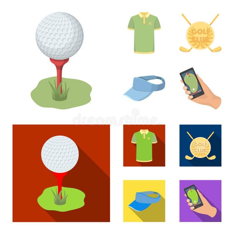 Έμβλημα του γκολφ κλαμπ, ΚΑΠ με ένα γείσο, πουκάμισο παικτών γκολφ, τηλέφωνο με έναν πλοηγό Καθορισμένα εικονίδια συλλογής γκολφ  διανυσματική απεικόνιση