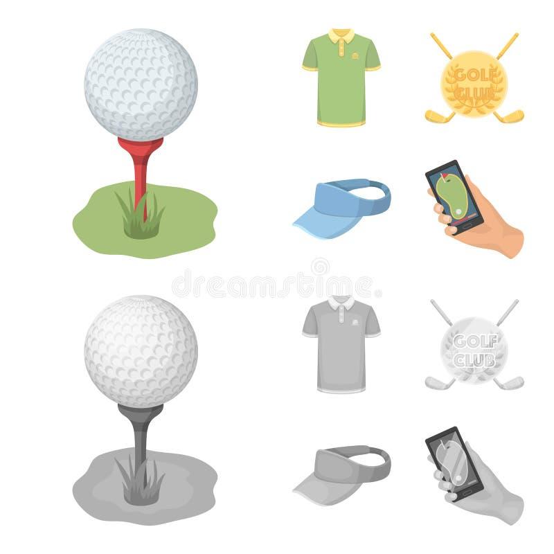 Έμβλημα του γκολφ κλαμπ, ΚΑΠ με ένα γείσο, πουκάμισο παικτών γκολφ, τηλέφωνο με έναν πλοηγό Καθορισμένα εικονίδια συλλογής γκολφ  απεικόνιση αποθεμάτων