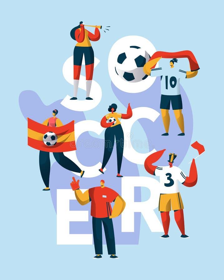 Έμβλημα τυπογραφίας υποστήριξης χαρακτήρα ανεμιστήρων ποδοσφαίρου Οι άνθρωποι παίζουν το πρωτάθλημα ποδοσφαιρικών παιχνιδιών Σύμβ απεικόνιση αποθεμάτων