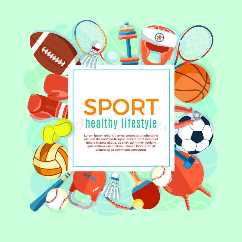 Έμβλημα των αθλητικών σφαιρών και του εξοπλισμού τυχερού παιχνιδιού Αφίσα με τον αθλητισμό κειμένων για το έμβλημα, αυτοκόλλητη ε απεικόνιση αποθεμάτων