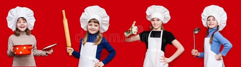 Έμβλημα των όμορφων μικρών κοριτσιών με μορφή μάγειρα στο κόκκινο στοκ εικόνες με δικαίωμα ελεύθερης χρήσης