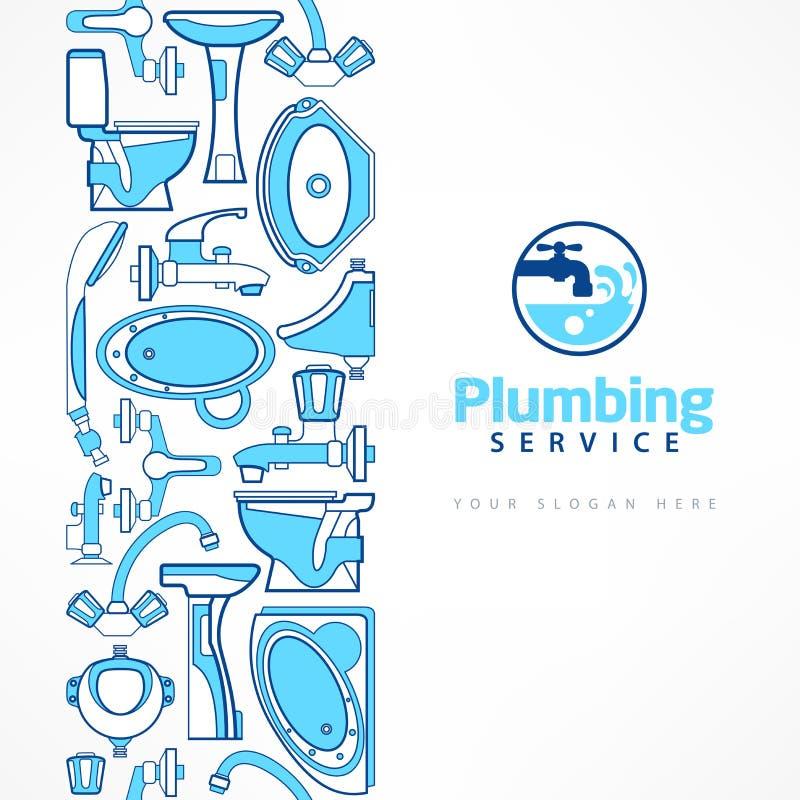 Έμβλημα υδραυλικών με το λογότυπο για το σχέδιο στο μπλε διανυσματική απεικόνιση