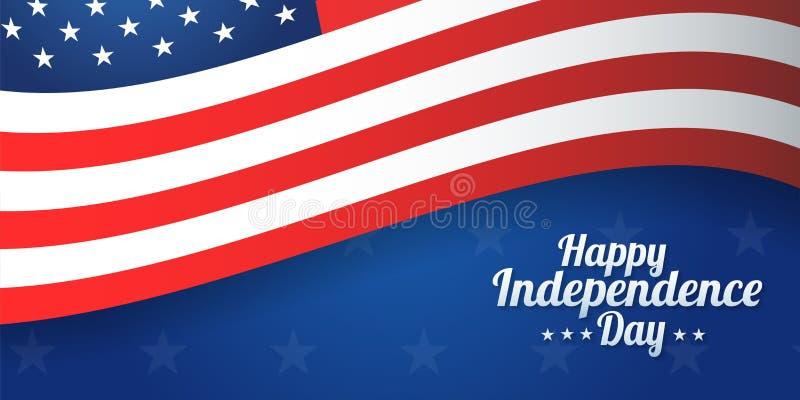 Έμβλημα υποβάθρου για την 4η Ιουλίου, ημέρα της ανεξαρτησίας ΑΜΕΡΙΚΑΝΙΚΟΣ εορτασμός Διανυσματική ευτυχής ημέρα της ανεξαρτησίας σ απεικόνιση αποθεμάτων