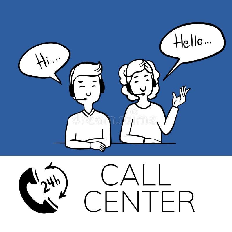 Έμβλημα υποστήριξης τηλεφωνικών κέντρων, doodle διανυσματική απεικόνιση