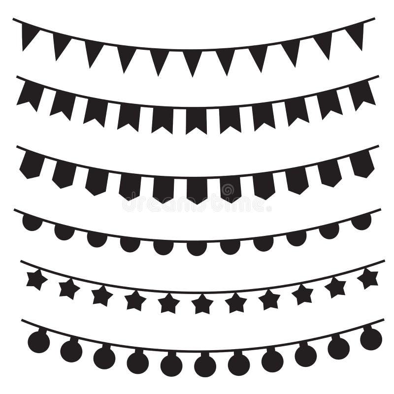 6 έμβλημα υφάσματος στο άσπρο υπόβαθρο   Σημάδι γιρλαντών για το σχέδιο ιστοχώρου σας, λογότυπο, app, UI Σύμβολο σημαιών E ελεύθερη απεικόνιση δικαιώματος