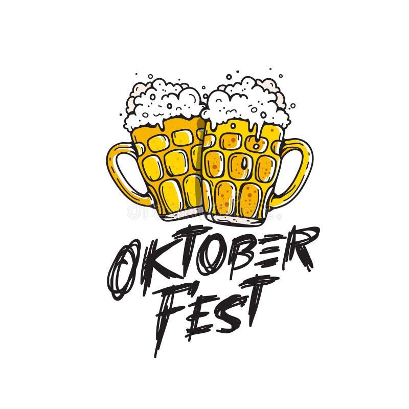 Έμβλημα φεστιβάλ μπύρας Oktoberfest Κούπα δύο της μπύρας διανυσματική απεικόνιση