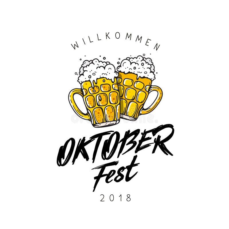 Έμβλημα φεστιβάλ μπύρας Oktoberfest τυπογραφία εγγραφής ελεύθερη απεικόνιση δικαιώματος