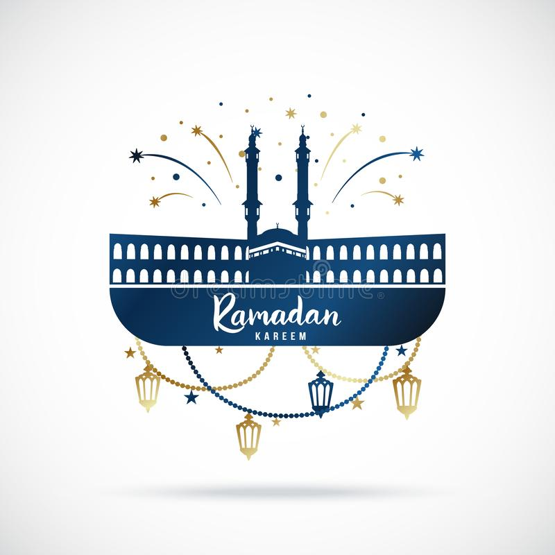 Έμβλημα χαιρετισμού για τις ισλαμικές ιερές διακοπές Ramadan Kareem απεικόνιση αποθεμάτων