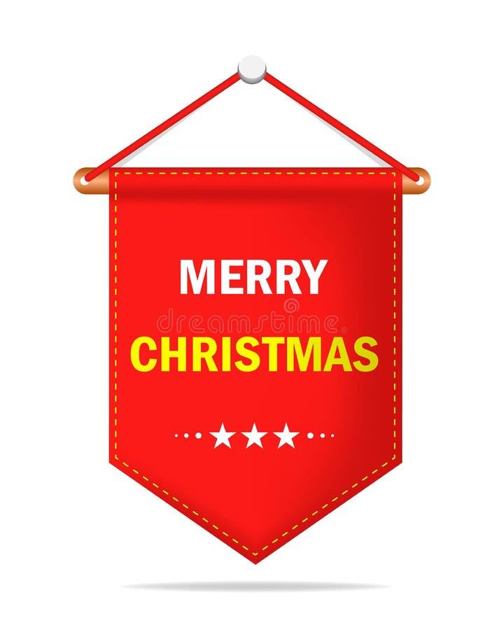 Έμβλημα Χαρούμενα Χριστούγεννας Κόκκινη ρεαλιστική κορδέλλα Χαρούμενα Χριστούγεννας στις χειμερινές διακοπές ή το νέο έτος Ετικέτ ελεύθερη απεικόνιση δικαιώματος