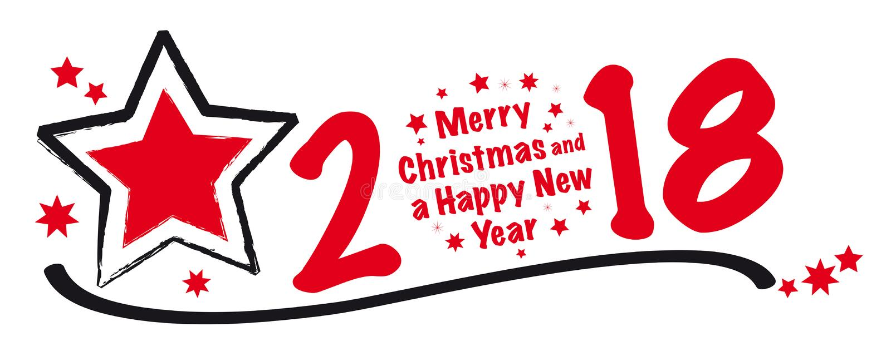 Έμβλημα Χαρούμενα Χριστούγεννας 2018 απεικόνιση αποθεμάτων