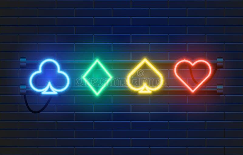 Έμβλημα χαρτοπαικτικών λεσχών λαμπτήρων νέου στο υπόβαθρο τοίχων Σημάδι παιχνιδιών πόκερ ή blackjack καρτών Έννοια του Λας Βέγκας διανυσματική απεικόνιση