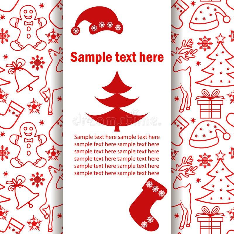 Έμβλημα Χριστουγέννων, κάρτα με ένα σχέδιο Χριστουγέννων, θέση για το κείμενο σε ένα άσπρο υπόβαθρο, επίδραση σκιών απεικόνιση αποθεμάτων