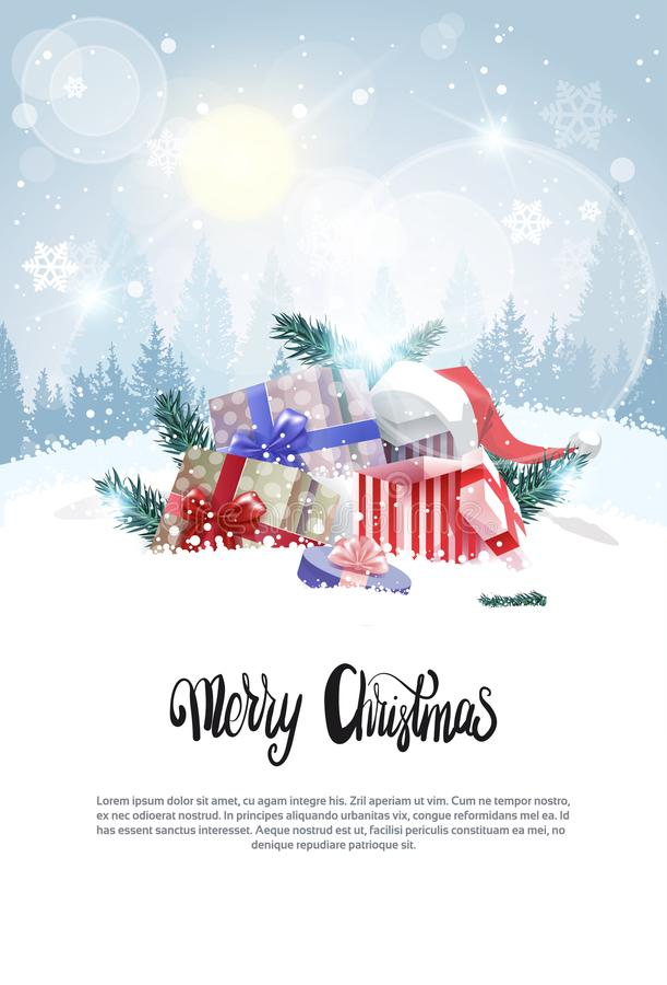 Έμβλημα Χριστουγέννων με παρόντα κιβώτια καρτών διακοπών αντιγράφων τα διαστημικά στο χιόνι πέρα από τη χειμερινή δασική άποψη ελεύθερη απεικόνιση δικαιώματος