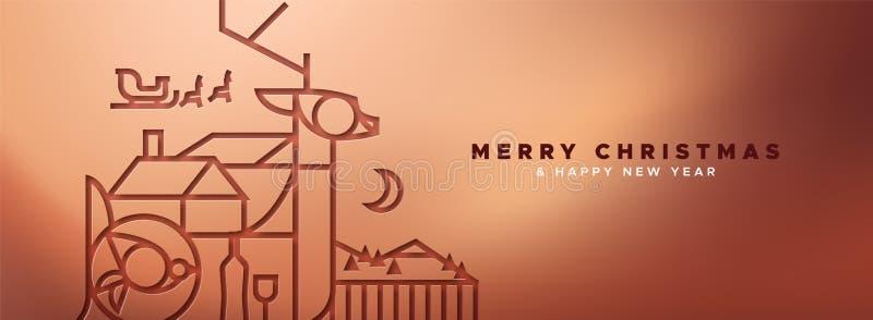 Έμβλημα Χριστουγέννων χαλκού των ελαφιών περιλήψεων papercut απεικόνιση αποθεμάτων