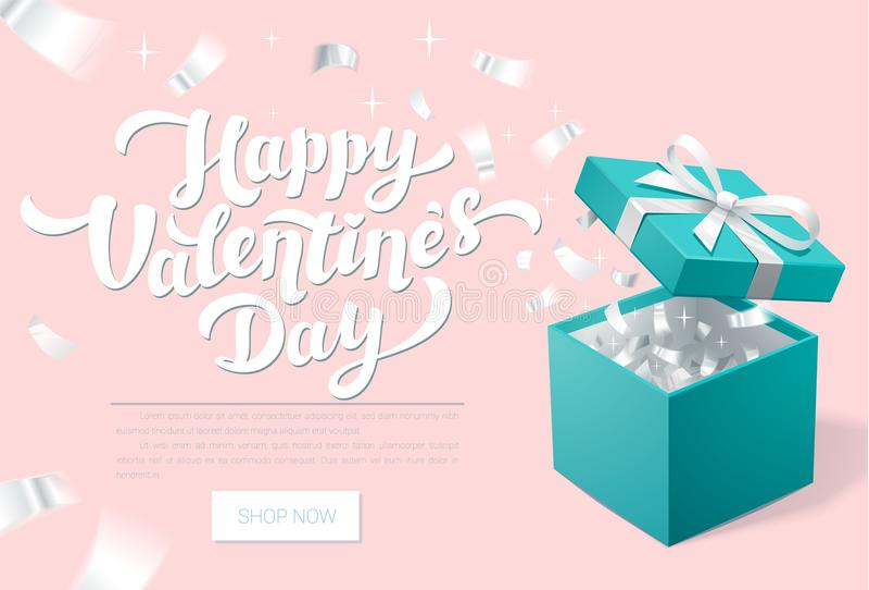 Έμβλημα Promo ημέρας βαλεντίνων με το ανοικτό κιβώτιο δώρων και το ασημένιο κομφετί ευτυχείς βαλεντίνοι ημέ&rho Τυρκουάζ κιβώτιο  ελεύθερη απεικόνιση δικαιώματος