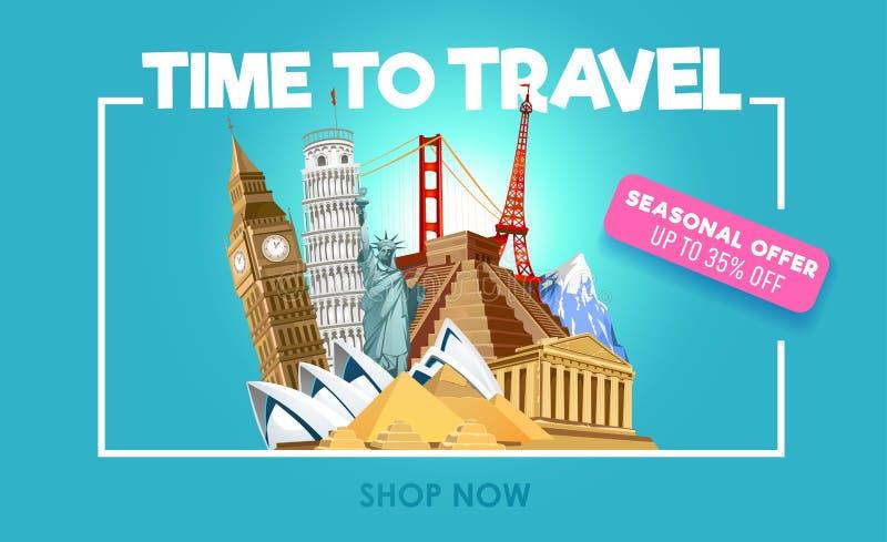 Έμβλημα promo ταξιδιού με την έκπτωση Χρόνος να ταξιδεφθεί η εμπνευσμένη αφίσα promo επίσης corel σύρετε το διάνυσμα απεικόνισης ελεύθερη απεικόνιση δικαιώματος