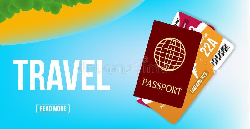 Έμβλημα promo ταξιδιωτικού γραφείου Σχέδιο αφισών με το διαβατήριο, και εισιτήρια   απεικόνιση αποθεμάτων