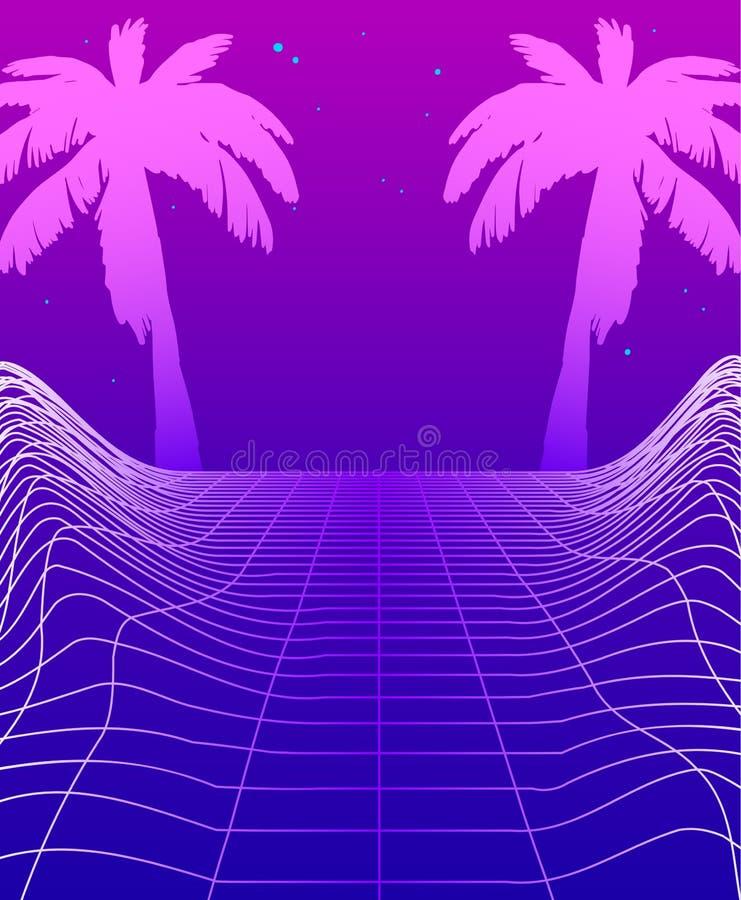 Έμβλημα Synthwave με το πλέγμα πυράκτωσης νέου, φουτουριστικό υπόβαθρο με τους φοίνικες Ιπτάμενο Cyberpunk προτύπων αφισών κόμματ διανυσματική απεικόνιση