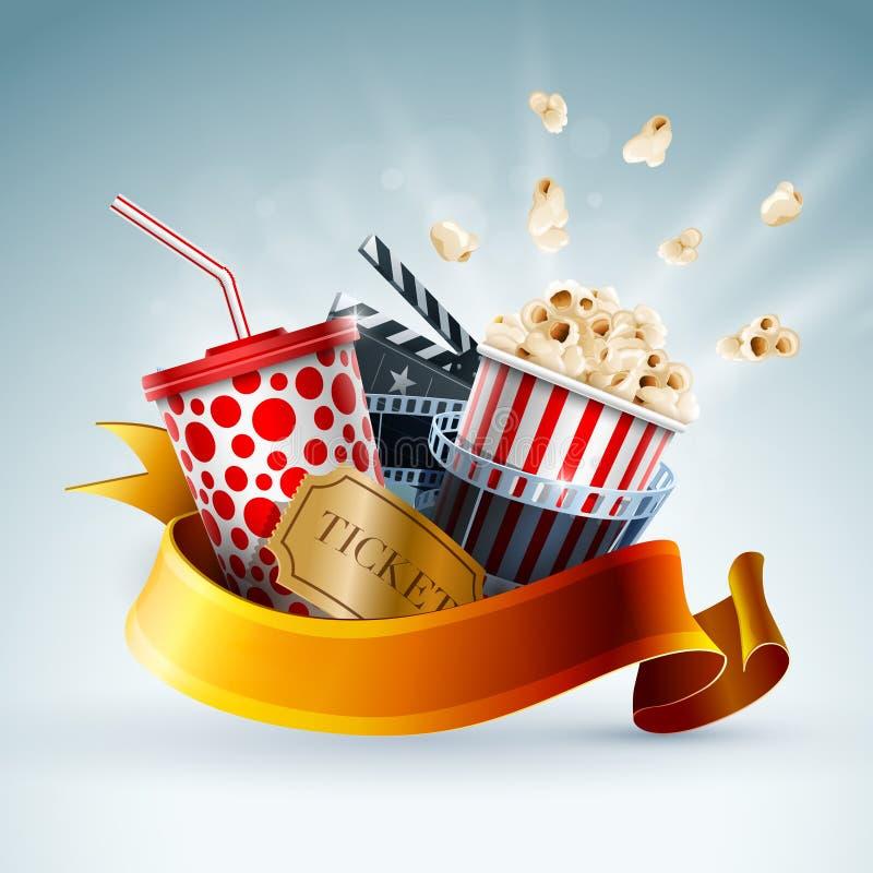Έμβλημα έννοιας κινηματογράφων απεικόνιση αποθεμάτων