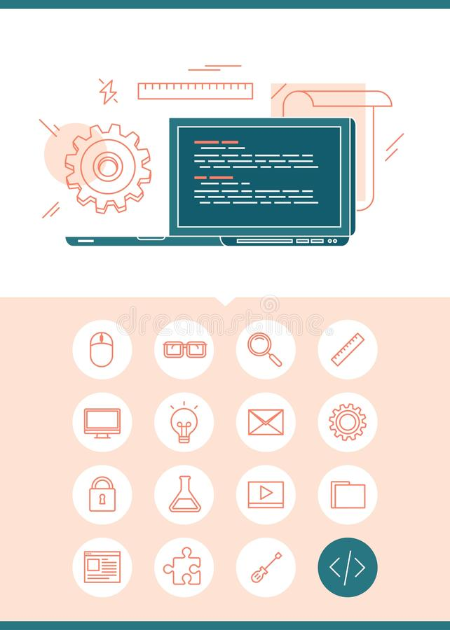 Έμβλημα έννοιας προγραμματισμού με το σύνολο σχετικών εικονιδίων διανυσματική απεικόνιση