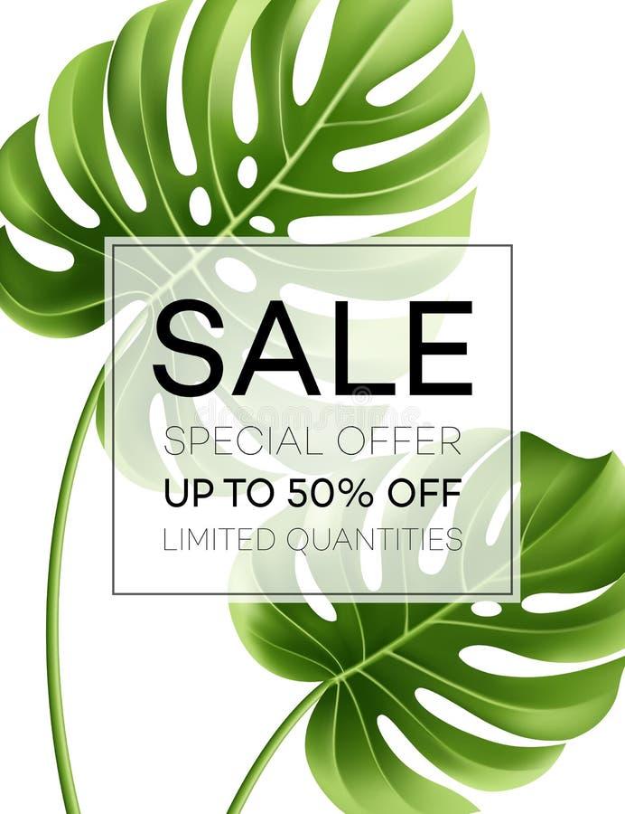 Έμβλημα ή αφίσα πώλησης με τα φύλλα φοινικών και το φύλλο ζουγκλών Floral τροπικό θερινό υπόβαθρο επίσης corel σύρετε το διάνυσμα ελεύθερη απεικόνιση δικαιώματος