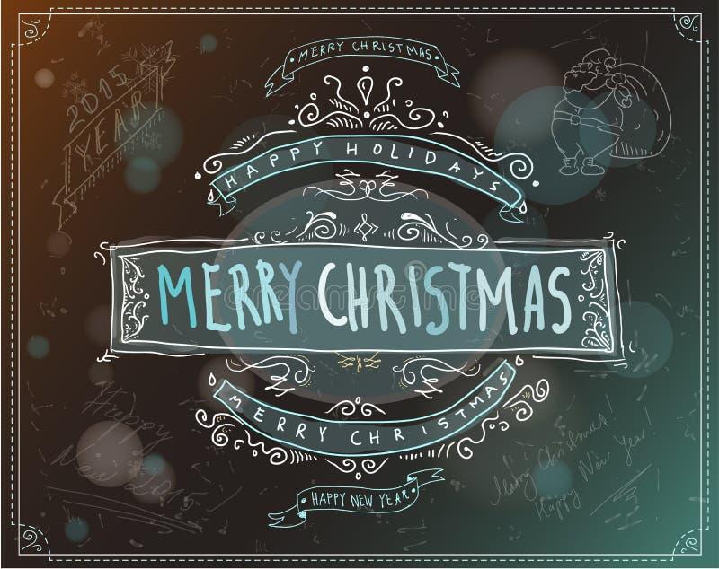 Έμβλημα ή ετικέτα Χαρούμενα Χριστούγεννας διανυσματική απεικόνιση