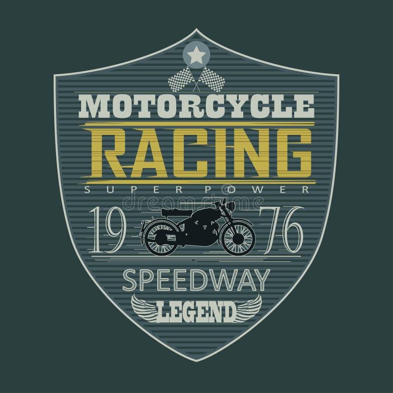 Έμβλημα αγώνα μοτοσικλετών, μπλούζα διανυσματική απεικόνιση
