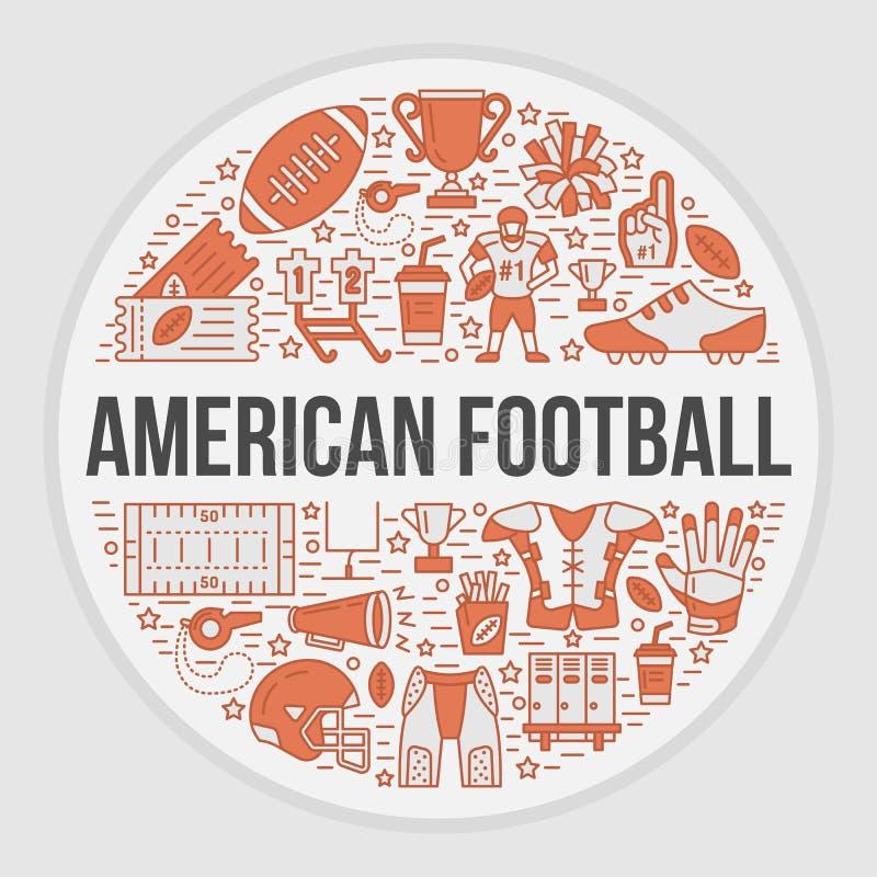 Έμβλημα αμερικανικού ποδοσφαίρου με τα εικονίδια γραμμών της σφαίρας, τομέας, φορέας, συριγμός, κράνος απεικόνιση αποθεμάτων