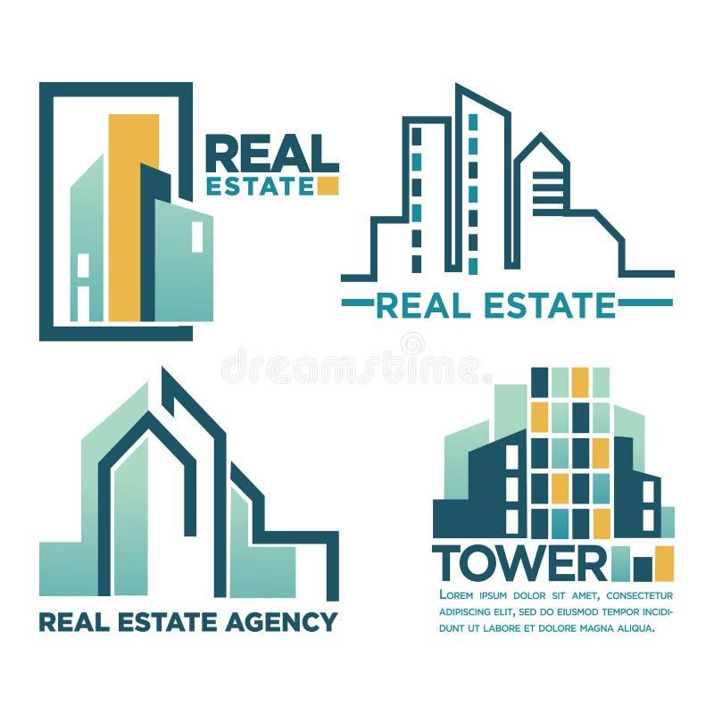 Έμβλημα αντιπροσωπειών ακίνητων περιουσιών με απομονωμένες τις ουρανοξύστες απεικονίσεις ελεύθερη απεικόνιση δικαιώματος