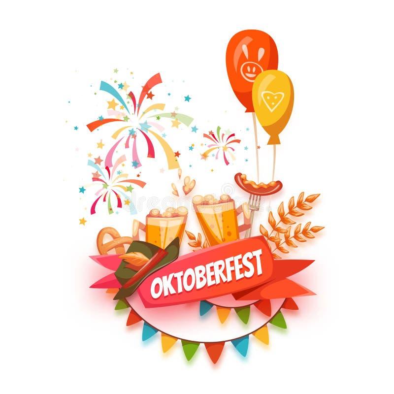 Έμβλημα για τον εορτασμό Oktoberfest Μπύρα και διανυσματική απεικόνιση