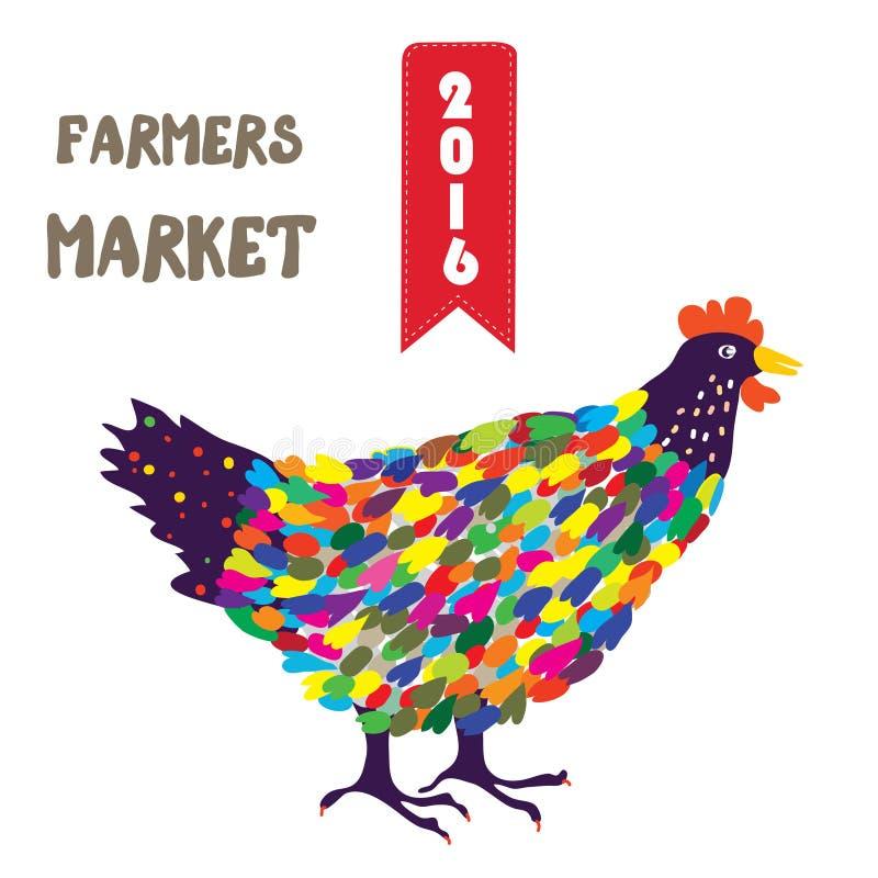 Έμβλημα για το προϊόν αγροτών με την κότα, αστείο σχέδιο διανυσματική απεικόνιση