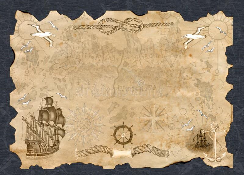 Έμβλημα εγγράφου με το διάστημα αντιγράφων και το χάρτη πειρατών απεικόνιση αποθεμάτων