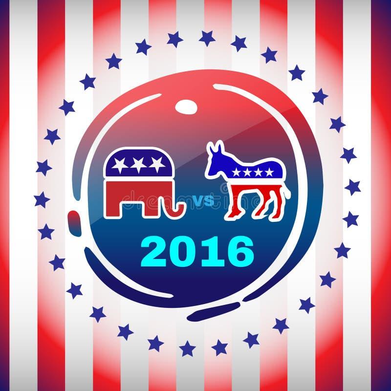 Έμβλημα εκστρατείας ημέρας 2016 εκλογής διανυσματική απεικόνιση