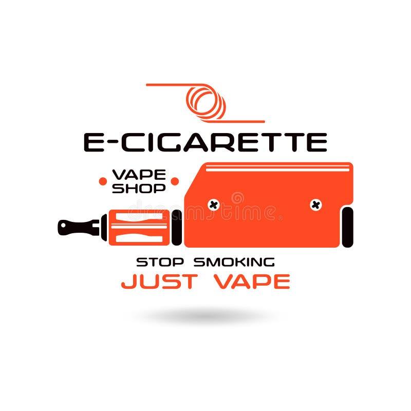 Έμβλημα ε-τσιγάρων διανυσματική απεικόνιση