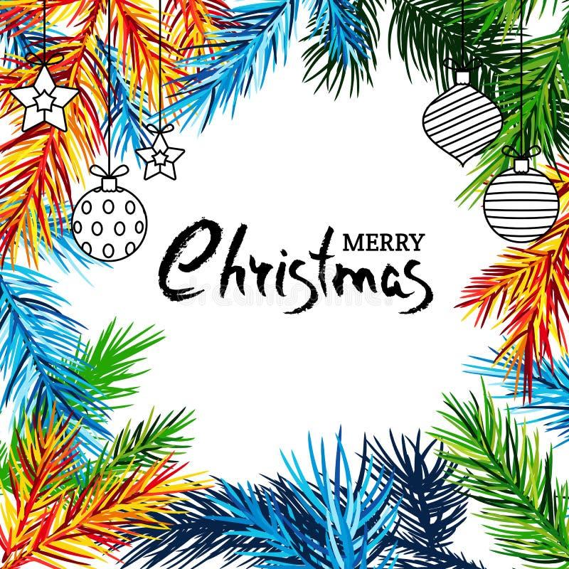 Έμβλημα διακοπών Χαρούμενα Χριστούγεννας με τους πολύχρωμα κλάδους έλατου, τα παιχνίδια και την εγγραφή καλλιγραφίας ελεύθερη απεικόνιση δικαιώματος