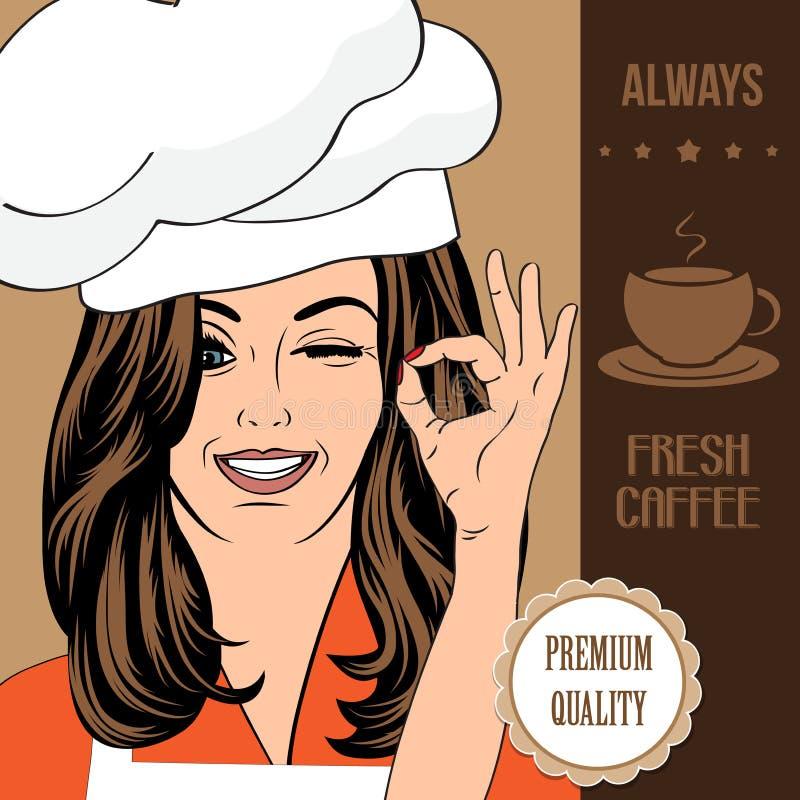 Έμβλημα διαφήμισης καφέ με μια όμορφη κυρία διανυσματική απεικόνιση