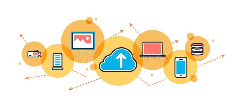 Έμβλημα και επιγραφή ιστοχώρου υπηρεσιών σύννεφων αποταμίευσης στον κύκλο ελεύθερη απεικόνιση δικαιώματος