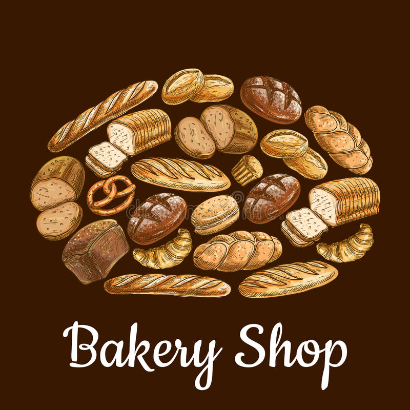 Έμβλημα καταστημάτων αρτοποιείων στη μορφή της φραντζόλας ψωμιού απεικόνιση αποθεμάτων