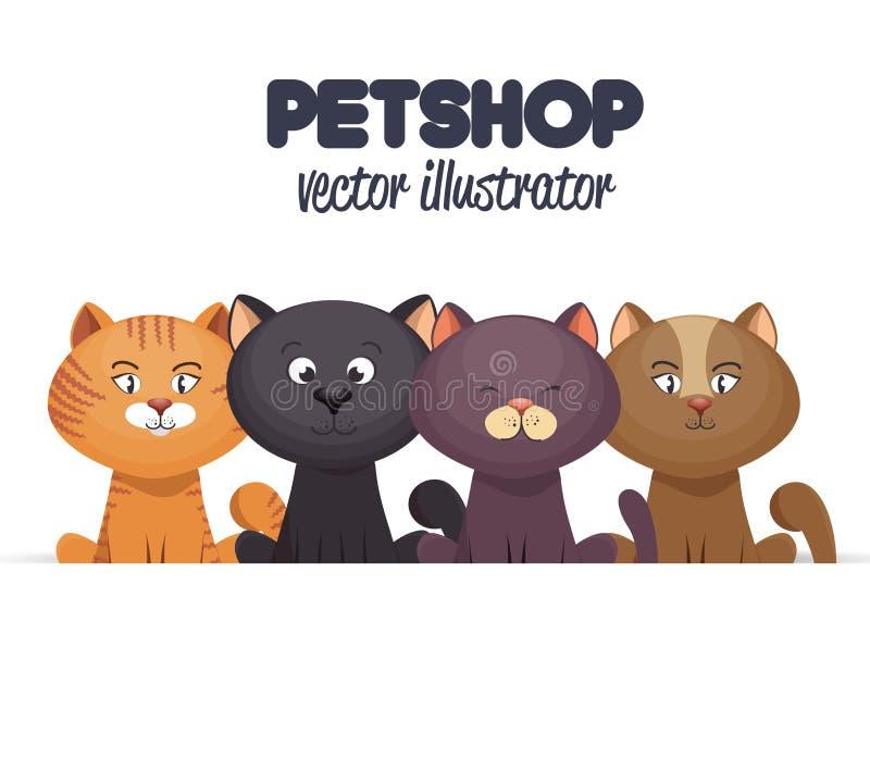 έμβλημα καταστημάτων κατοικίδιων ζώων με το σχέδιο γατακιών διανυσματική απεικόνιση