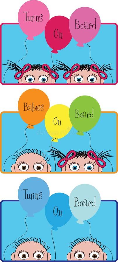 Έμβλημα κινούμενων σχεδίων χρώματος με τα παιδιά ελεύθερη απεικόνιση δικαιώματος