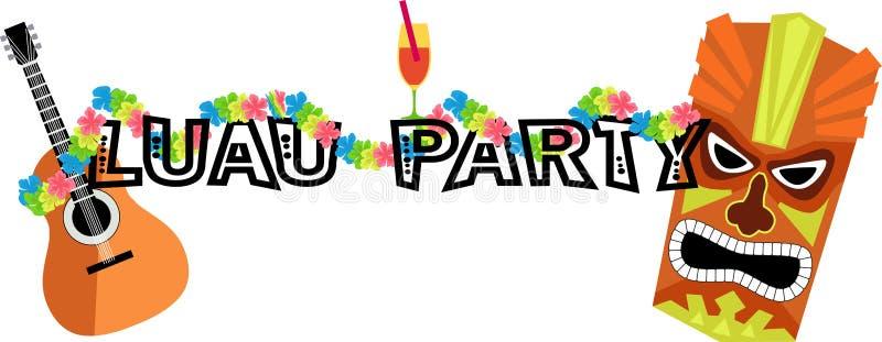 Έμβλημα κόμματος Luau ελεύθερη απεικόνιση δικαιώματος