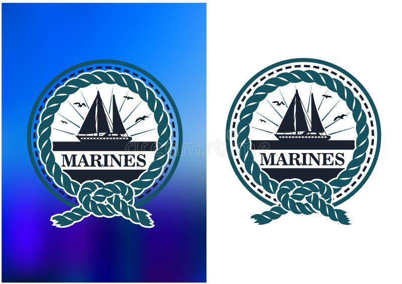 Έμβλημα κύκλων ναυτικών, λογότυπο στο αναδρομικό ύφος διανυσματική απεικόνιση