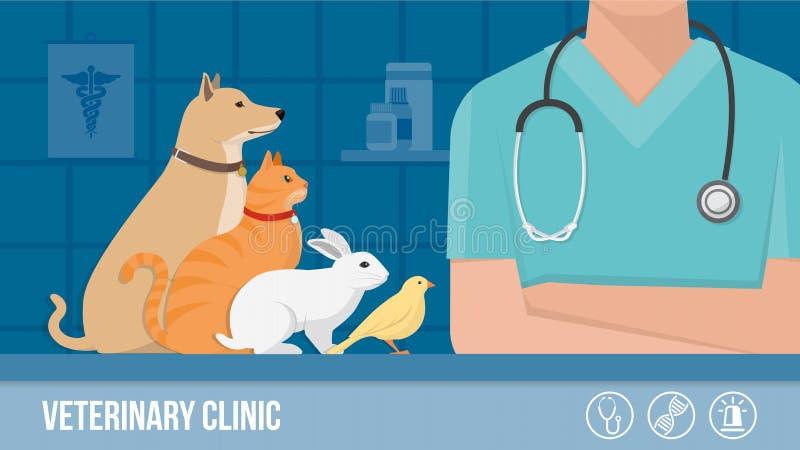 Έμβλημα κλινικών κτηνιάτρων ελεύθερη απεικόνιση δικαιώματος