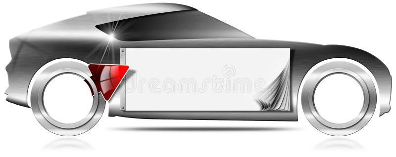 Έμβλημα μετάλλων αυτοκινήτων με το κόκκινο βέλος απεικόνιση αποθεμάτων