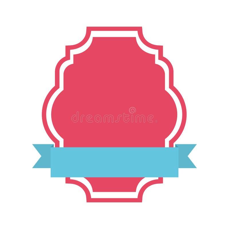 έμβλημα με απομονωμένο σχέδιο εικονιδίων κορδελλών το μπλε διανυσματική απεικόνιση