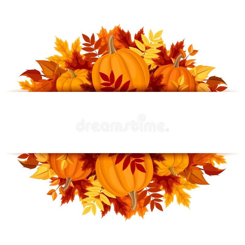 Έμβλημα με τις κολοκύθες και τα ζωηρόχρωμα φύλλα φθινοπώρου Διάνυσμα eps-10 απεικόνιση αποθεμάτων