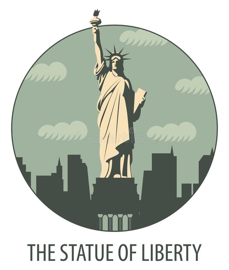 Έμβλημα με το άγαλμα της ελευθερίας απεικόνιση αποθεμάτων